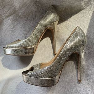 Jimmy Choo Crown Pump 8 (38 EU) Champagne Glitter